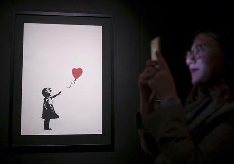Red, Art, Visual arts, Balloon, Design, Illustration, Room, Fun, Photography, Shadow,