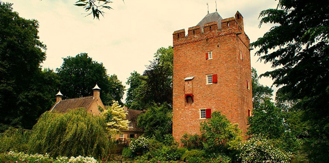 Tree, Shrub, Woody plant, Brick, Castle, Roof, Garden, Medieval architecture, Turret, Tower,