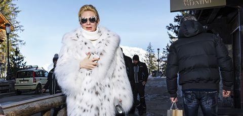 Fur, Fur clothing, White, Street fashion, Eyewear, Fashion, Sunglasses, Textile, Outerwear, Haute couture,