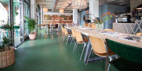Floor, Restaurant, Table, Room, Building, Flooring, Furniture, Interior design, Cafeteria, Chair,