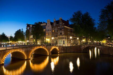 Night, Reflection, Waterway, Water, Canal, River, Sky, Bridge, Light, Lighting,