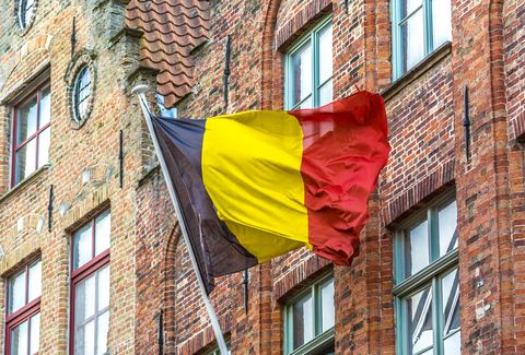 Flag, Red, Yellow, Brick, Architecture, Window, Facade, Building,