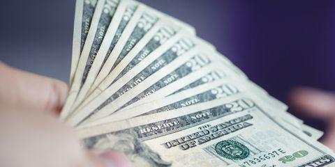 Cash, Money, Currency, Banknote, Dollar, Saving, Money handling, Close-up, Paper, Font,