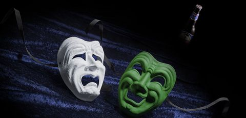 Green, Mask, Masque, Headgear, Mouth, Costume, Performing arts, Smile, Still life photography, Carving,