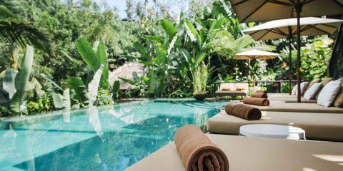 Swimming pool, Property, Resort, Real estate, Composite material, Aqua, Shade, Sunlounger, Eco hotel, Tile,