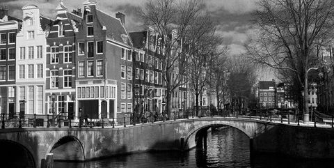 Canal, Waterway, Water, Black-and-white, Monochrome, Architecture, Town, Monochrome photography, Tree, Urban area,