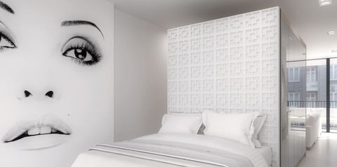 White, Room, Bedroom, Wall, Black-and-white, Bed, Furniture, Interior design, Bed sheet, Monochrome photography,