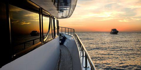 Sky, Water, Sea, Water transportation, Deck, Horizon, Vehicle, Sunset, Ocean, Evening,