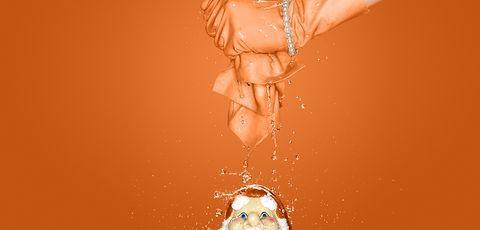 Water, Skin, Orange, Blond, Ear, Photography, Fashion accessory, Illustration,