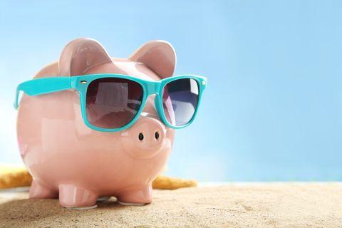 Eyewear, Sunglasses, Glasses, Pink, Snout, Piggy bank, Suidae, Saving, Domestic pig, Vision care,