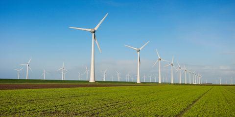 Wind turbine, Wind farm, Windmill, Field, Grassland, Wind, Nature, Sky, Atmospheric phenomenon, Natural environment,