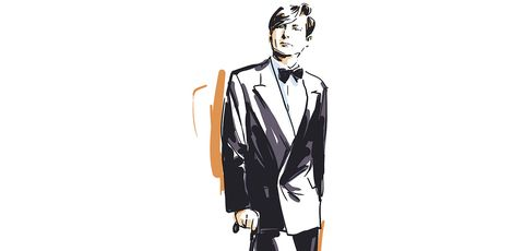 Fashion illustration, Suit, Illustration, Formal wear, Tuxedo, Fashion design, Art, Tie, Style, Drawing,