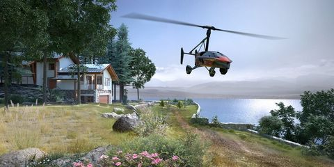 Helicopter, Helicopter rotor, Rotorcraft, Vehicle, Aircraft, Grass, Plant, Military helicopter, House,