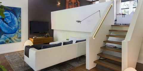 Stairs, Furniture, Room, Interior design, Living room, Wall, Floor, House, Handrail, Material property,