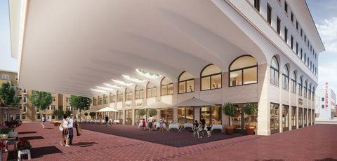 Building, Mixed-use, Architecture, City, Shopping mall, Commercial building, Facade, Plaza, Urban design, Interior design,