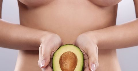 Skin, Close-up, Fruit, Food, Neck, Avocado, Hand, Plant, Eating, Chest,