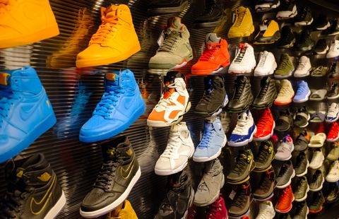 Footwear, Shoe, Shoe store, Sportswear, Athletic shoe, Plimsoll shoe, Colorfulness, Sneakers, Collection,
