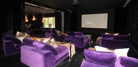 Room, Purple, Property, Interior design, Violet, Lavender, Ceiling, Wall, Couch, Projection screen,