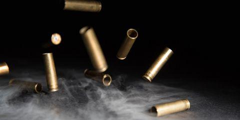 Ammunition, Brass, Bullet, Metal, Gun accessory, Copper, Cylinder, Fastener,