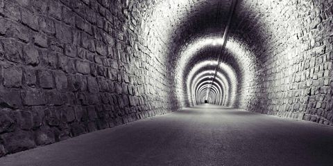 Infrastructure, Tunnel, Wall, Road surface, Style, Line, Monochrome, Light, Ceiling, Tints and shades,