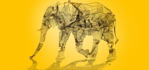 Illustration, Art, Organism, Line, Drawing, Elephant, Sketch, Visual arts, Fictional character, Elephants and Mammoths,