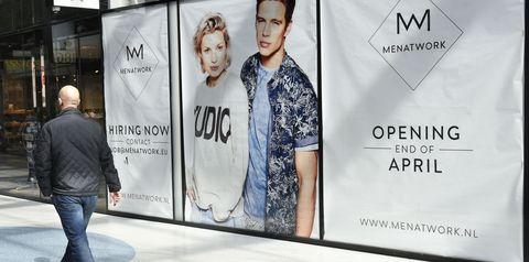 Advertising, Fashion, Jeans, Banner, Denim, Signage, Street fashion, Brand,