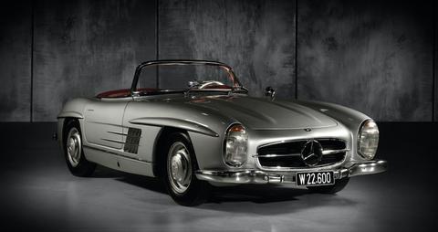 Land vehicle, Vehicle, Car, Mercedes-benz 300sl, Coupé, Classic car, Automotive design, Mercedes-benz, Sports car, Sedan,