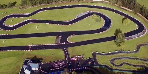 Race track, Aerial photography, Landscape, Sport venue, Urban design, Amusement park, Residential area, Park, Road,