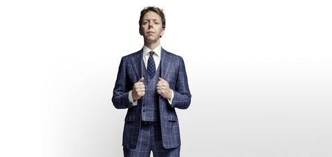 Suit, Clothing, Product, Standing, Blazer, Formal wear, Outerwear, White-collar worker, Design, Gesture,