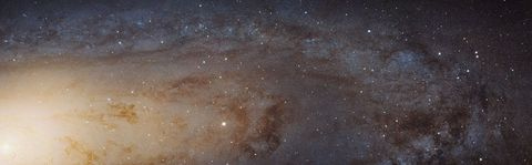 A view of one quadrant of the Andromeda Galaxy, with the galactic core visible to the left.