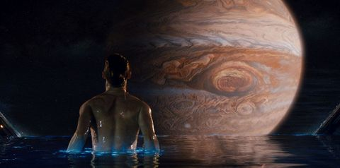 Liquid, Back, Astronomical object, Barechested, Reflection, Space, Art, Wave, Abdomen, Planet,