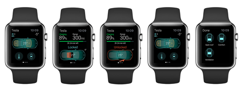 A display of Apple Watches showing the features of Eleks Labs app, which lets you control a Tesla car from your wrist.
