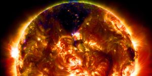 A view of the Sun in infrared, with many coronal mass ejections evident.