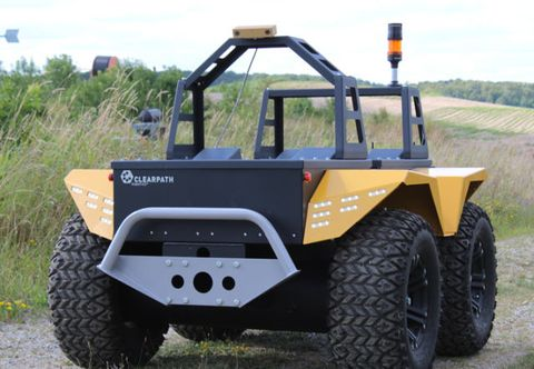 The Grizzly RUV from Clearpath Robotics is a big robot for big jobs like hay baling. It also has laser sensors precise enough that it can cultivate asparagus stalks ready for picking and detect cow urine so it knows where grass might need to be treated.