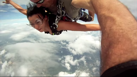 Two skydivers almost lost control