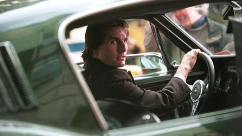 Actor Tom Cruise drives a Fastback Mustang November 7, 2000 in New York City while shooting 'Vanilla Sky', a romantic auto-centric film. (Photo by Arnaldo Magnani/Liaison)