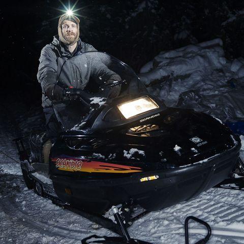 Outdoor recreation, Winter, Darkness, Snowmobile, Winter sport, Adventure, Sledding, Snow, Sled, Freezing,