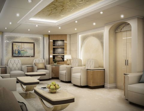 Aft lounge of a VIP Boeing 747-8 finished by Greenpoint Technologies, of Kirkland, Wash.