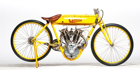 """The Cyclone plied its trade on the terrifying oval <a href=""""http://www.roadandtrack.com/motorsports/videos/a8205/balls-to-the-wall-in-beverly-hills-circa-1921/"""">board tracks</a> of early 20th century America for only three years, but&nbsp;the marque left an indelible impression on the motorcycle industry."""