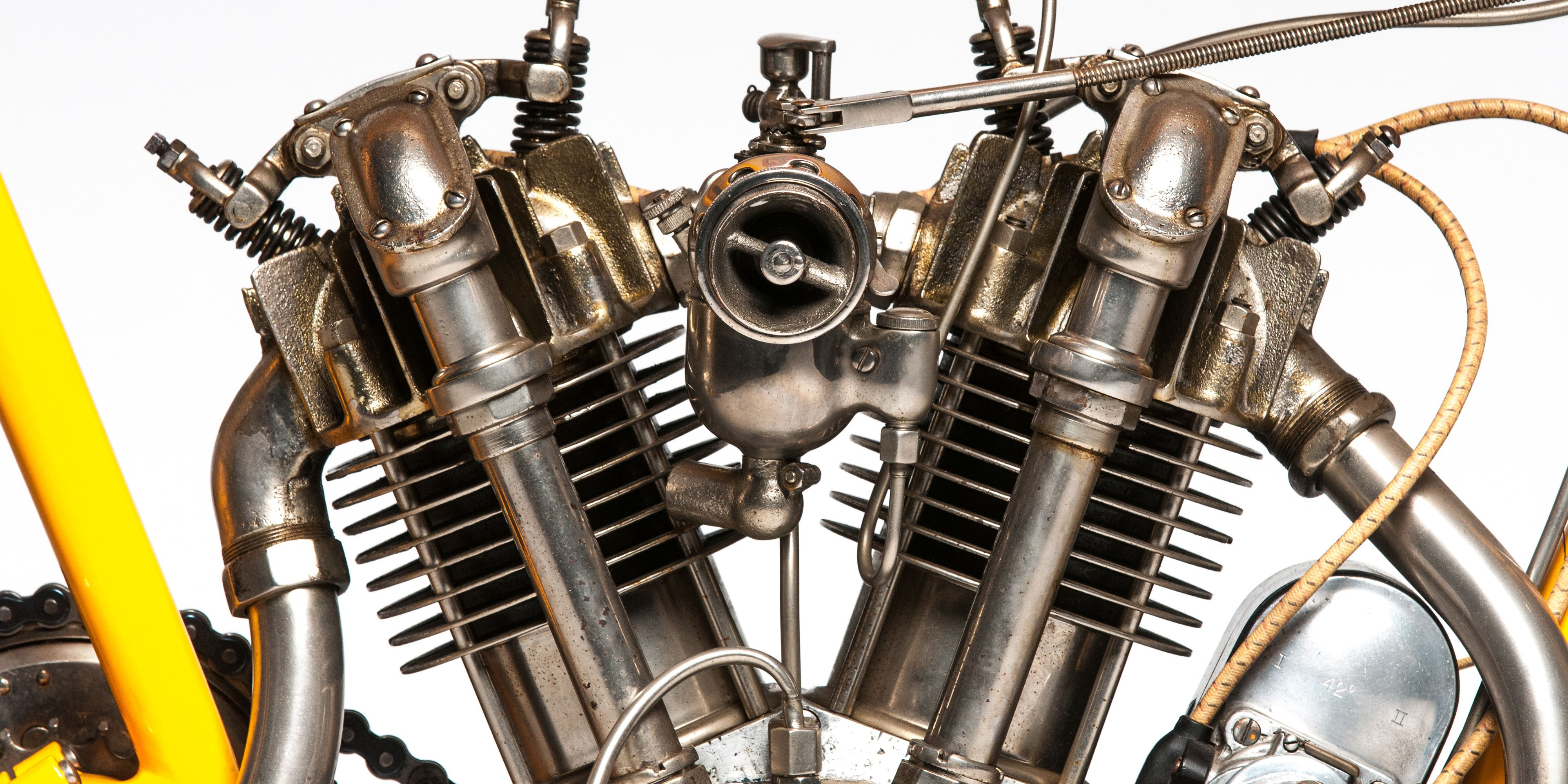 "The beautiful bevel-drive, overhead cam engine was the centerpiece of the Cyclone, and a glimpse at motorcycling's high-performance future. It's listed on <a href=""https://www.mecum.com/lot-detail/EJ0315-211653/0/1915-Cyclone-Board-Track-Racer-Ex-Steve-McQueen/"">Mecum, here.</a>"
