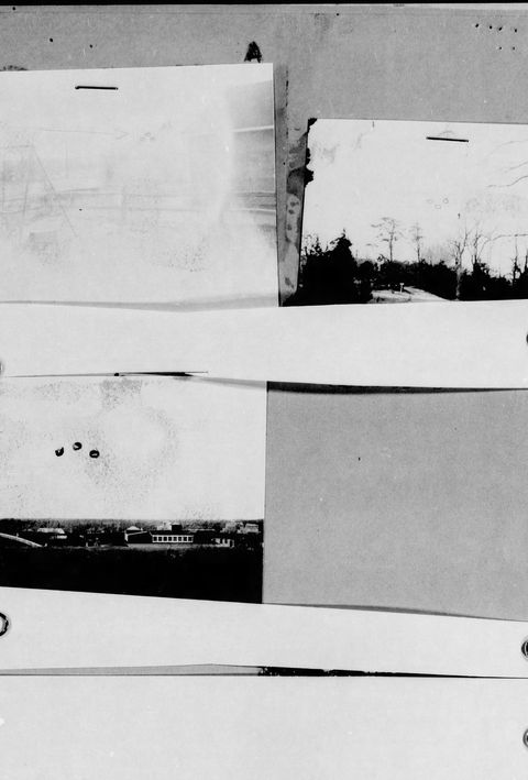 Here's the first indexed UFO sighting, reported in November 1945 in Tom's River, NJ. The photos mostly show a few blobs dangling in the sky, which surely portended the invasion and subjugation of humanity.