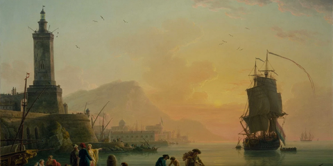 Watercraft, Boat, Tower, Art, Painting, Naval architecture, Ship, Illustration, Evening, Afterglow,