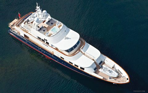 "<p>The shiny, red, white and blue hull of this five-year-old 10-guest <a href=""http://y.co/yacht/calliope/"">yacht</a> looks stately on the sea, with four decks for any watery activities you desire.</p>"
