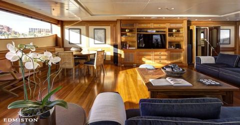 "<p>Designer Michael Leach's interiors swap out the heavy wood for light, creating a cheerful living area that feels like home — even on the ocean. After a long day on the water, it's an ideal spot to hide away with a book.</p> <p>Find more details about the Azteca II <a href=""http://www.edmiston.com/luxury-yachts-for-sale/azteca-ii-1105/"">here</a>.</p>"
