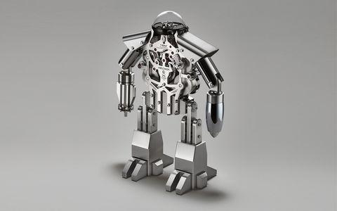 Technology, Machine, Armour, Fictional character, Robot, Helmet, Mecha, Military robot, Action figure, Silver,