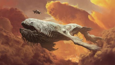 Extinction, Marine mammal, Wildlife, Illustration, Painting, Humpback whale, Tusk, Cg artwork, Dinosaur,