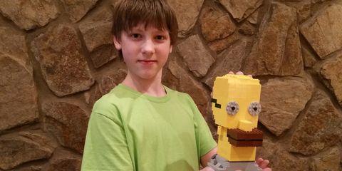 Toy, T-shirt, Toy block, Stone wall, Brick, Lego, Figurine, Box,