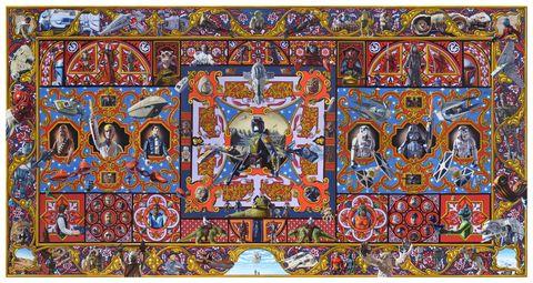 Art, Majorelle blue, Mythology, Visual arts, Painting, Symmetry, Illustration, Holy places, Symbol, Place of worship,