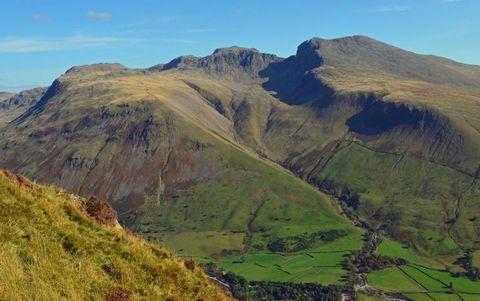 Mountainous landforms, Hill, Highland, Slope, Landscape, Mountain, Terrain, Valley, Grassland, Geology,