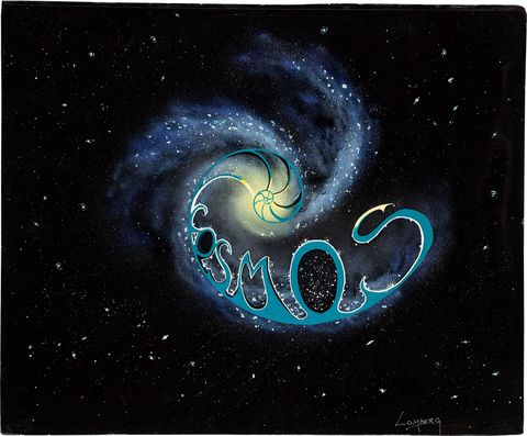 This is the original concept painting for the logo to <em>Cosmos</em>, displaying it within the arm of a spiral galaxy.